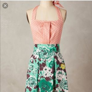 New Anthropologie Paola Apron Polka Dot Floral